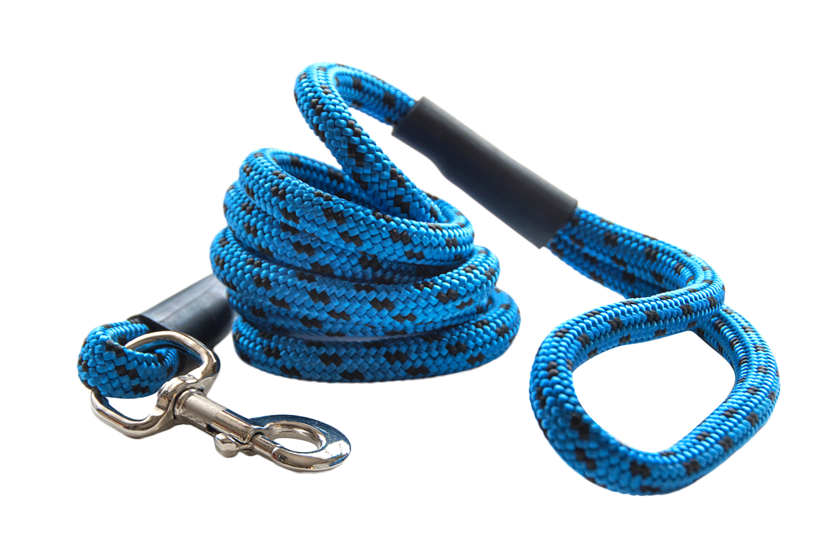 blue and black durable big dog leash